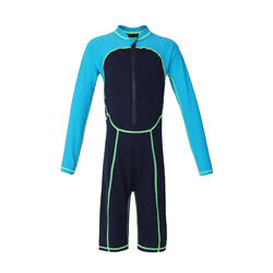BOYS' LONG-SLEEVE SHORTY SWIMSUIT 100 - BLUE