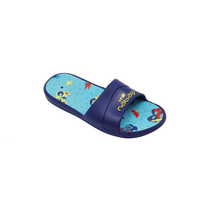 男童款泳池拖鞋SSP 500 -藍黑