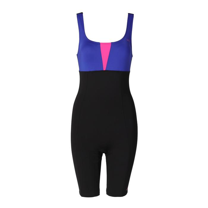 女款水中健身單件式連身及膝短褲 - 黑色藍色