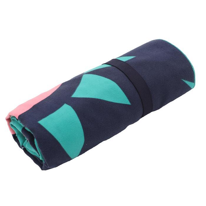 Printed Microfibre Towel, L - Green Pink
