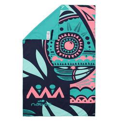 輕便微纖維毛巾L號80 x 130 cm 粉紅色/綠色印花