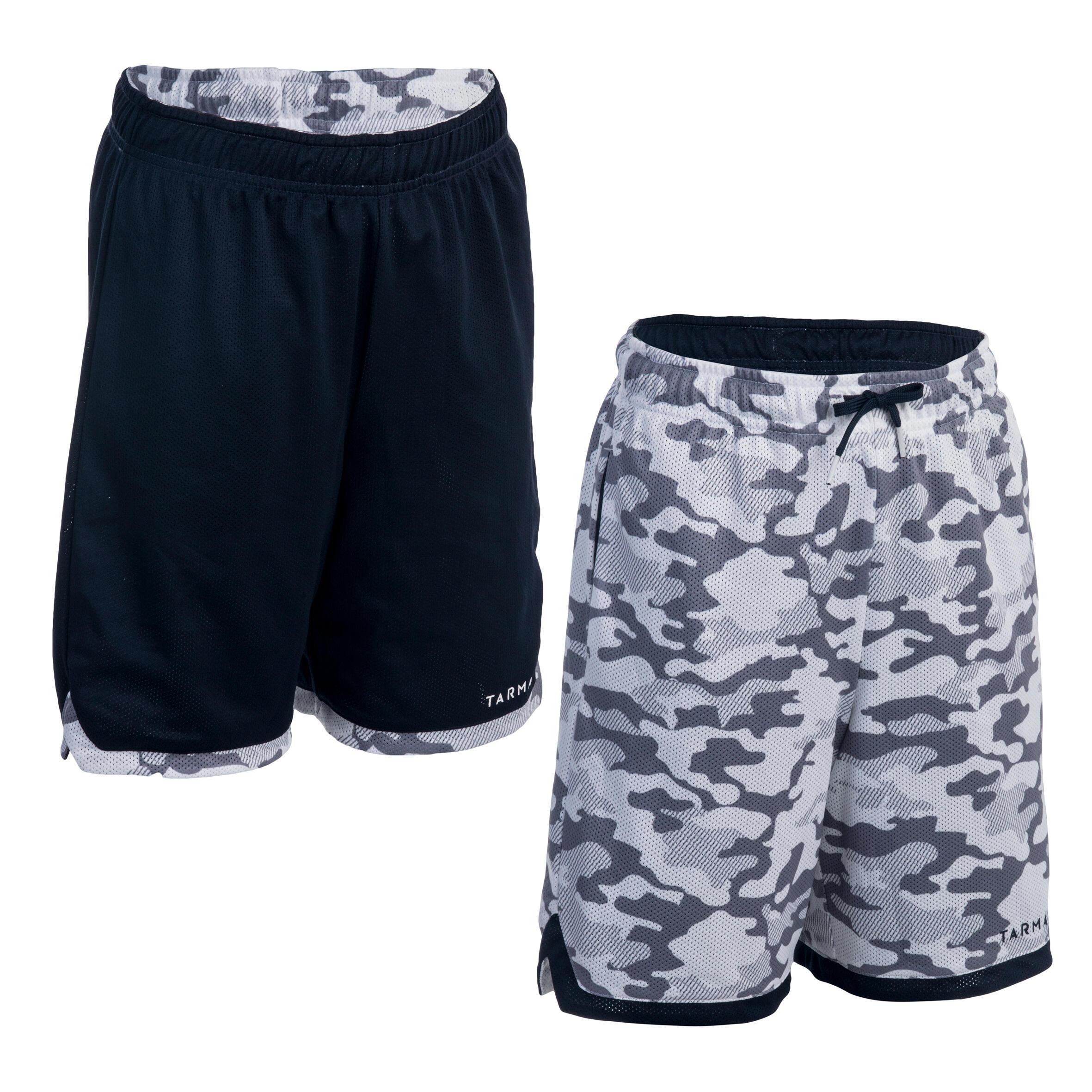 Basketballshorts Wendeshorts Jungen/Mädchen camouflage/weiß/dunkelblau   Sportbekleidung > Sporthosen > Basketballshorts   Tarmak