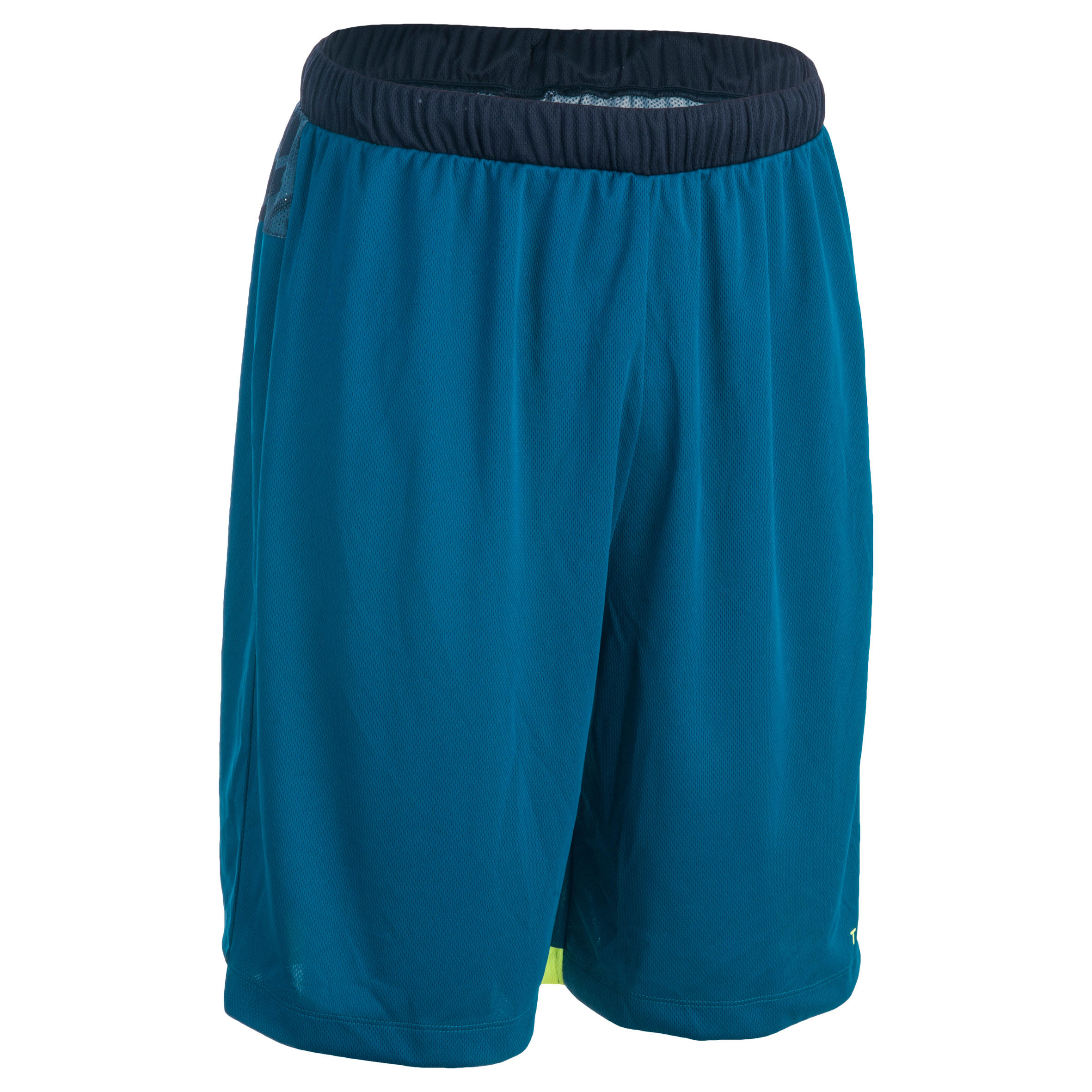 SH500 Intermediate Basketball Shorts - Blue/Digital Yellow