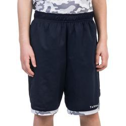 Omkeerbare basketbalshort halfgevorderde jongens/meisjes camo wit marineblauw