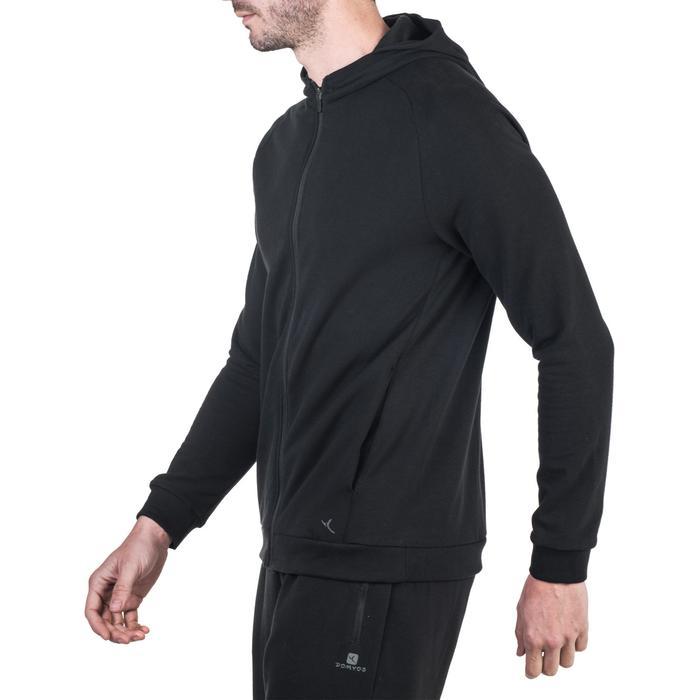 Veste 500 capuche Gym Stretching noir homme - 1338802