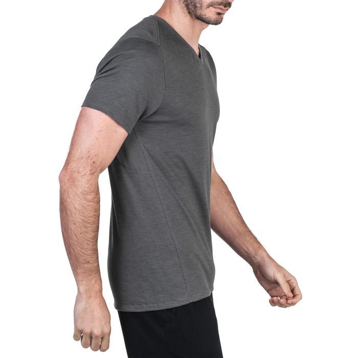 T-Shirt 520 slim col V Gym & Pilates homme gris printé