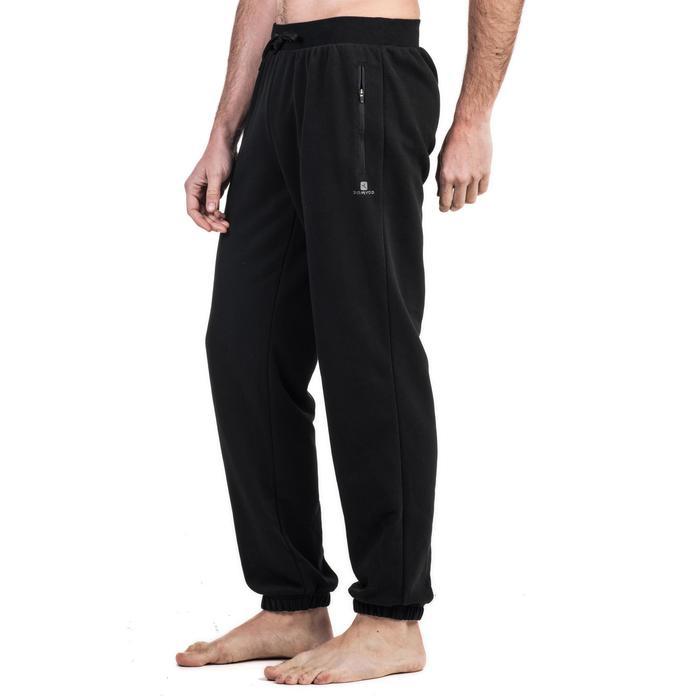 Pantalon 500 regular zip Gym Stretching noir homme - 1338822