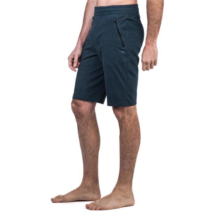 Pantalón Corto Deportivo Gimnasia Pilates Domyos 520 Slim Hombre Azul