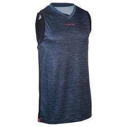 Mouwloos basketbalshirt T500 voor halfgevorderde heren grijs/zwart