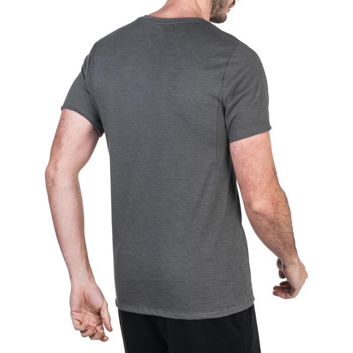 Heren T-shirt 520 voor gym en pilates slim fit V-hals grijs print