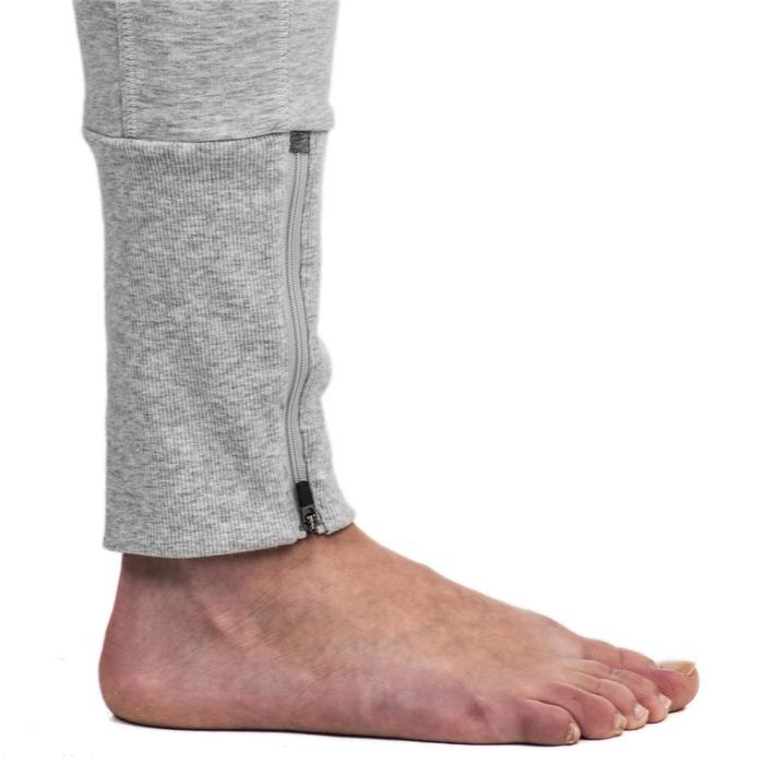 Pantalon 920 Gym & Pilates femme bas zippé gris chiné moyen - 1338861