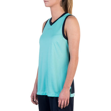 B500 Women's Basketball Tank Top For Intermediate Players - Turquoise/Navy