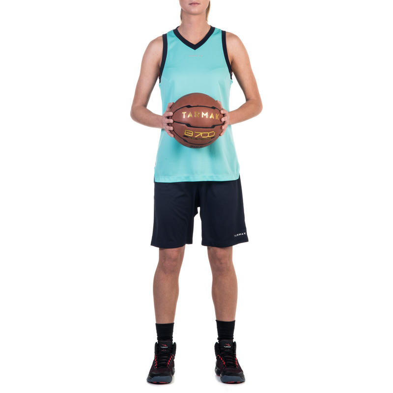 ADULT BASKETBALL TANK TANK T500 W TURQUOISE NAVY