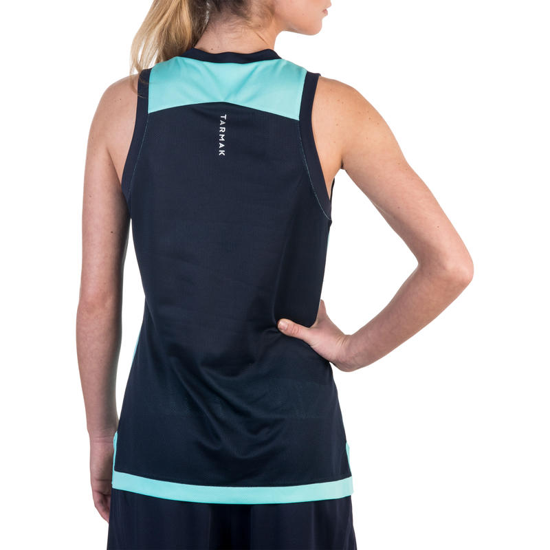 Áo thun không tay bóng rổ B500 cho nữ - Ngọc lam/ Xanh navy