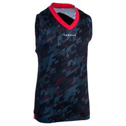 B500 男童/女童籃球背心上衣 -初學者/玩家 - 數字 灰色/黑色