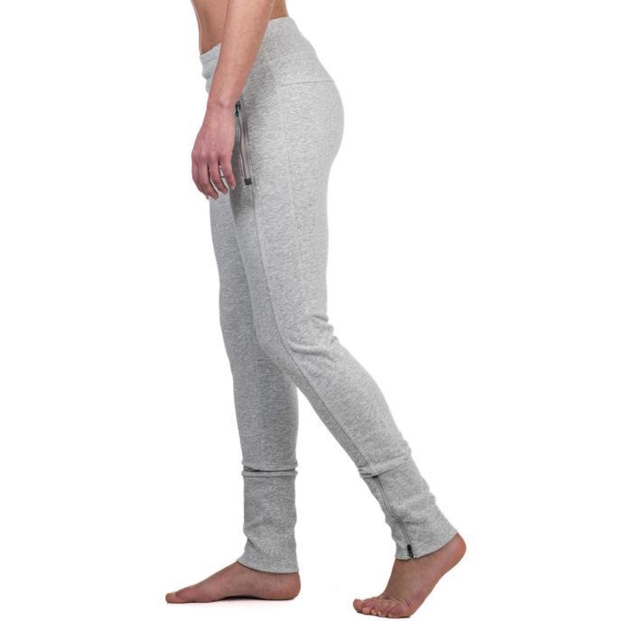 Pantalon 920 Gym & Pilates femme bas zippé gris chiné moyen - 1338956