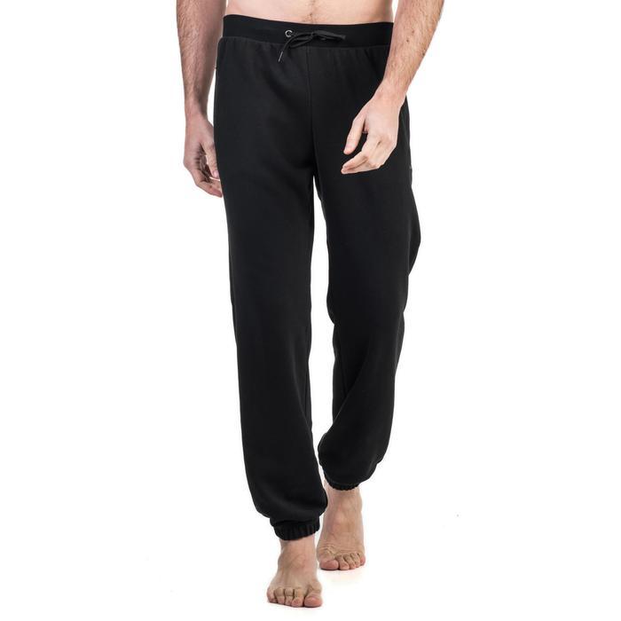Pantalon 500 regular zip Gym Stretching noir homme - 1338958