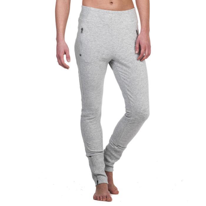 Pantalon 920 Gym & Pilates femme bas zippé gris chiné moyen - 1338964