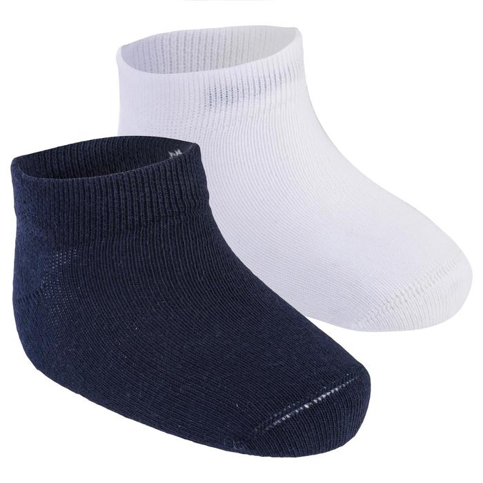 Turnsocken 100 Low Baby 2-er-Pack marineblau/weiß