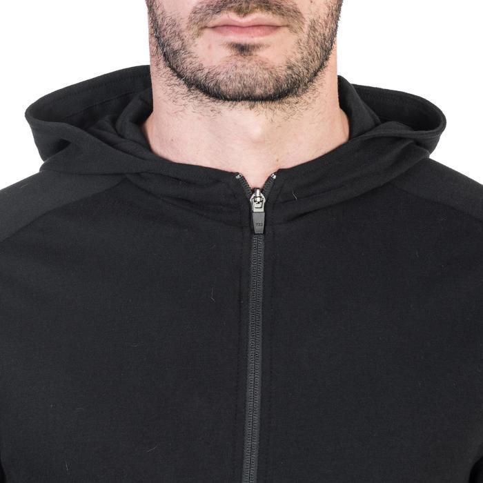 Veste 500 capuche Gym Stretching noir homme - 1338987