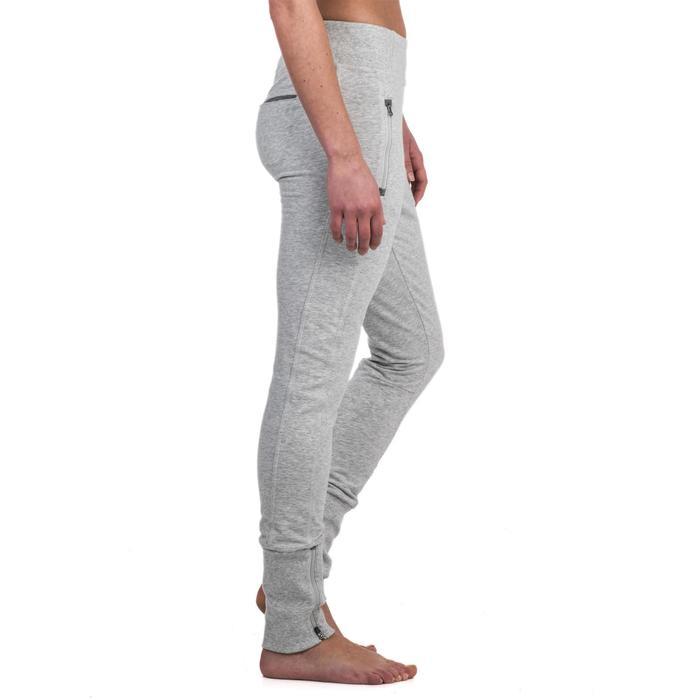Pantalon 920 Gym & Pilates femme bas zippé gris chiné moyen - 1338989