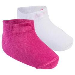 Sokken 100 low voor gym set van 2 paar wit/roze