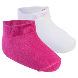 Turnsocken 100 Low Baby 2-er-Pack rosa/weiß