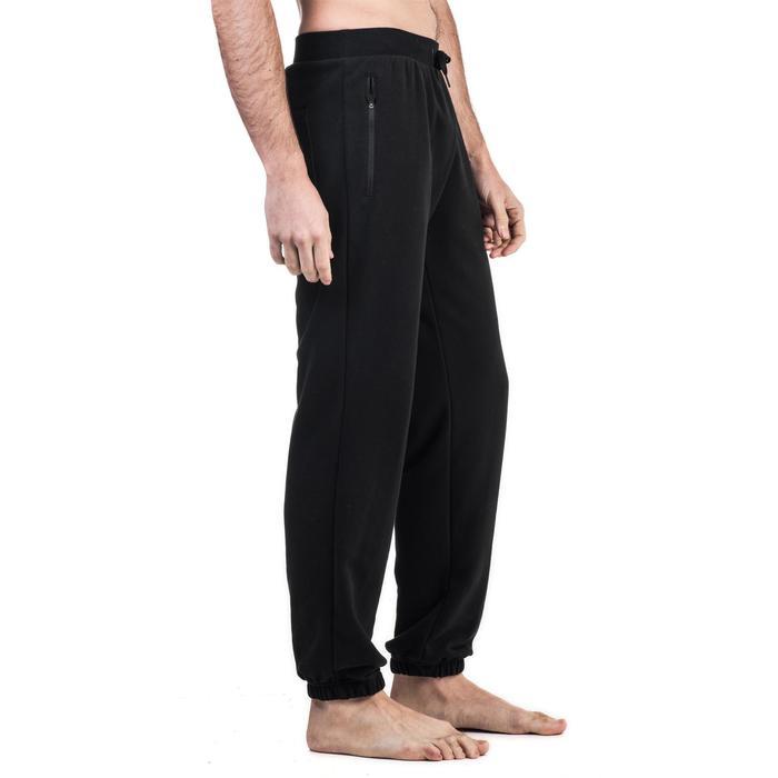 Pantalon 500 regular zip Gym Stretching noir homme - 1339005