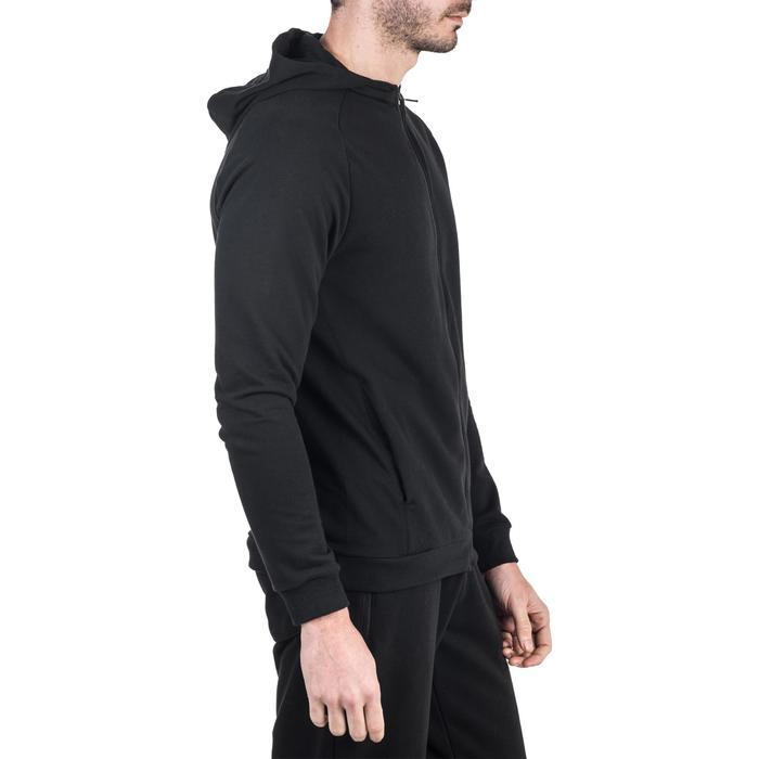 Veste 500 capuche Gym Stretching noir homme - 1339015