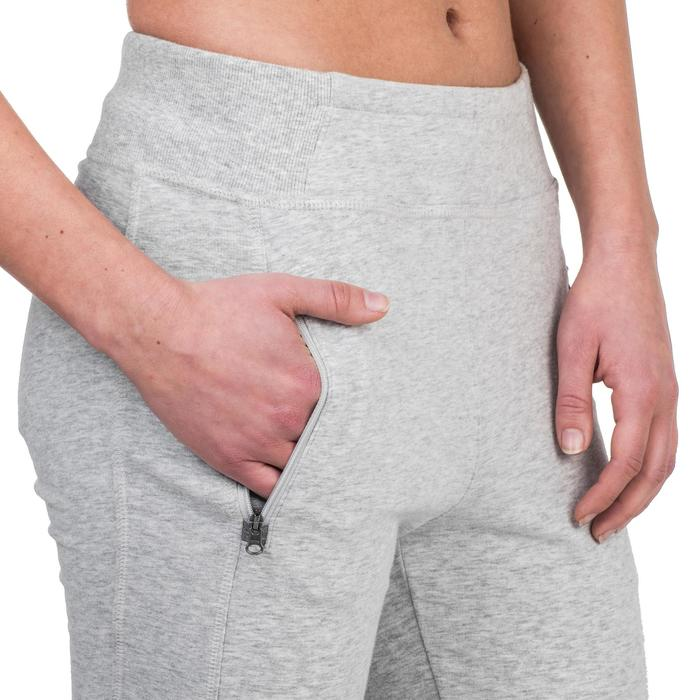 Pantalon 920 Gym & Pilates femme bas zippé gris chiné moyen - 1339017