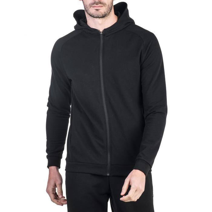 Veste 500 capuche Gym Stretching noir homme - 1339018