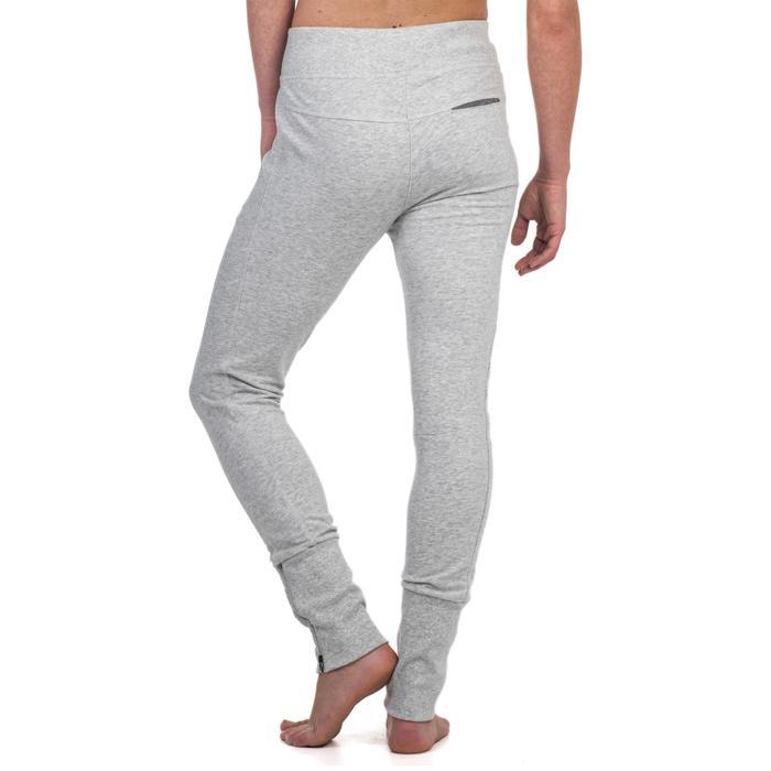 Pantalon 920 Gym & Pilates femme bas zippé gris chiné moyen - 1339021