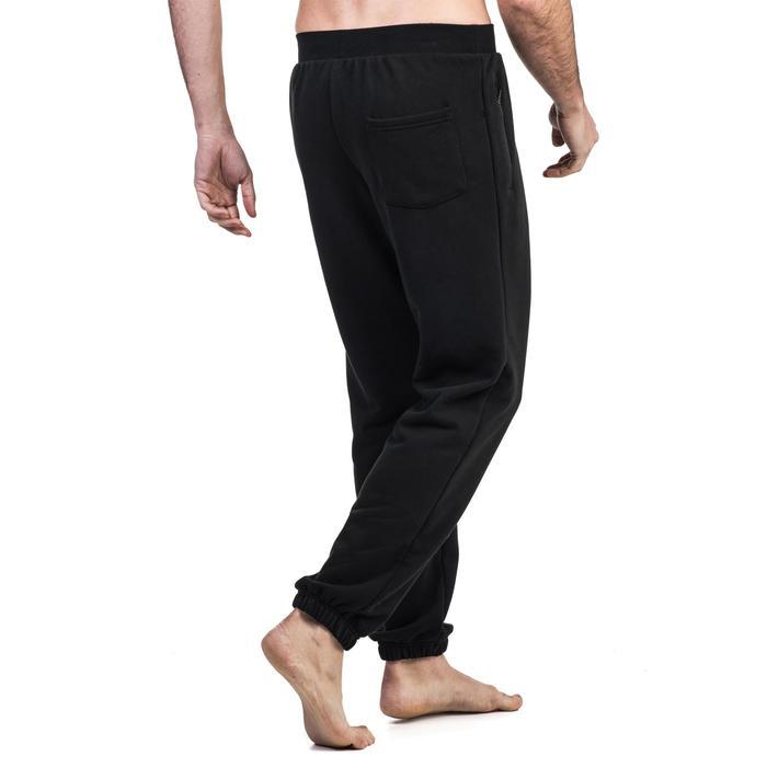 Pantalon 500 regular zip Gym Stretching noir homme - 1339032