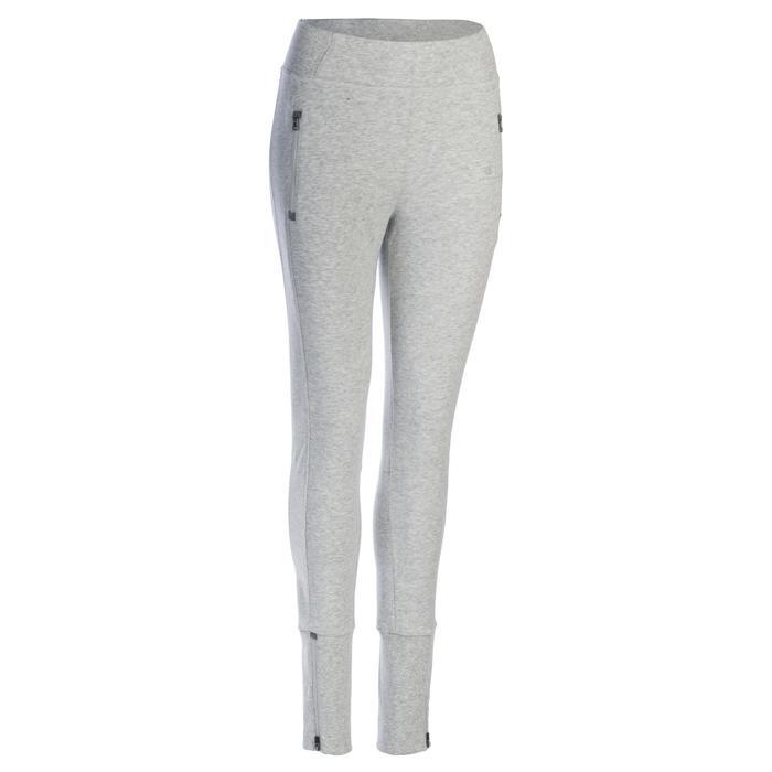 Pantalon 920 Gym & Pilates femme bas zippé gris chiné moyen - 1339034