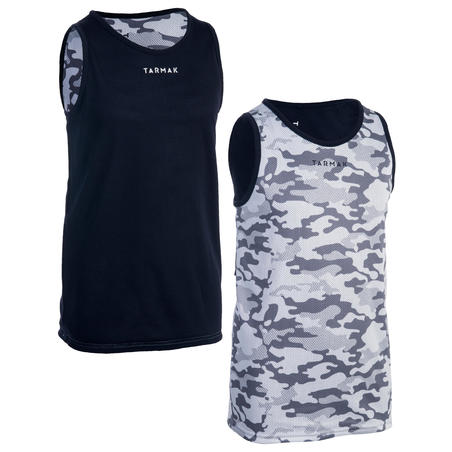 Boys'/Girls' Intermediate Reversible Basketball Tank Top - Camo/White/Navy