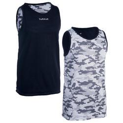 Omkeerbaar basketbalshirt halfgevorderde jongens/meisjes cam. wit marineblauw