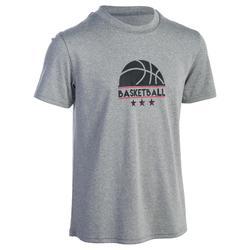 Basketballshirt Fast Jungen/Mädchen Fortgeschrittene grau 1/2 Ball