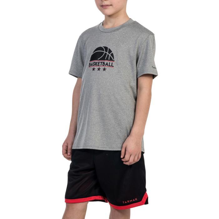Basketbal T-shirt Fast jongens/meisjes halfgevorderden grijs 1/2 bal