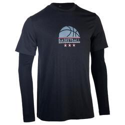 Basketballshirt 900 integrierte Langarm-Manschette Herren Profi Logo 1/2 Ball