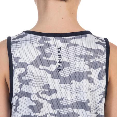 Paženg. bern./merg. dvipus. berank. krepšinio marškinėliai – kamuf./balt./t.mėl.