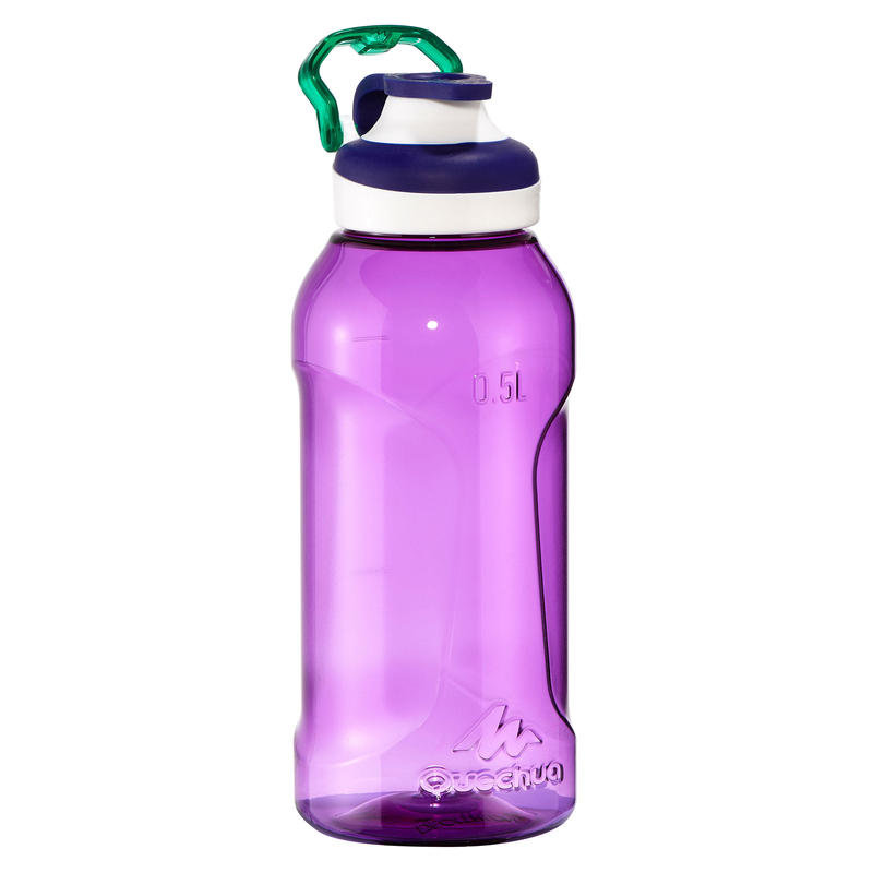 Mountain Hiking Water Bottle Tritan Plastic Quick-Open 500 0.5L- Purple