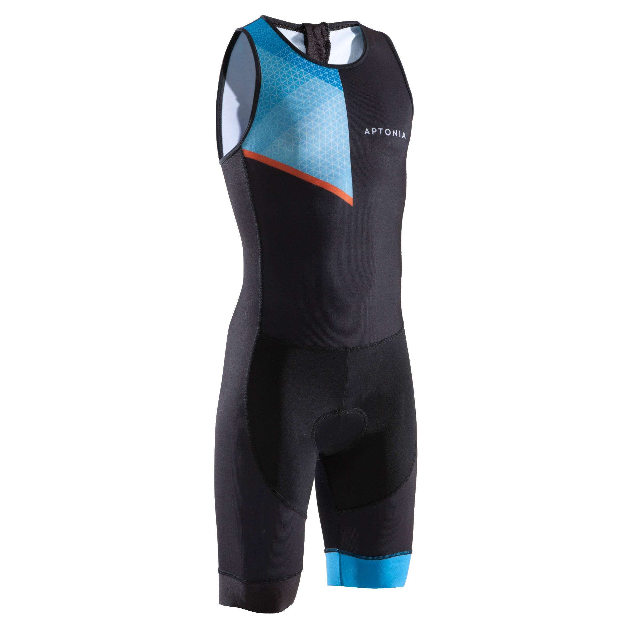 TRIATHLON CHILDREN'S SLEEVELESS TRISUIT BACK ZIPPER BLACK BLUE