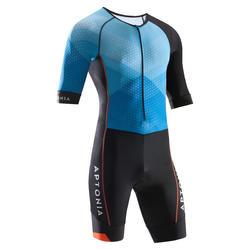 三鐵男款短袖前開拉鍊式三鐵衣(適合長距離穿著)-藍色/黑色