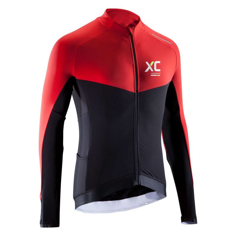 MEN MID SEASON CROSS COUNTRY MTB APPAREL Cycling - XC900 Cold Weather Long Sleeve Mountain Bike Jersey - Black/Red ROCKRIDER - Cycling
