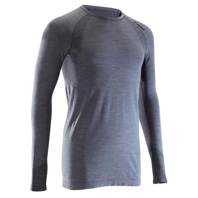 Pánské alpinistické vlněné tričko Seamless s dlouhým rukávem šedé