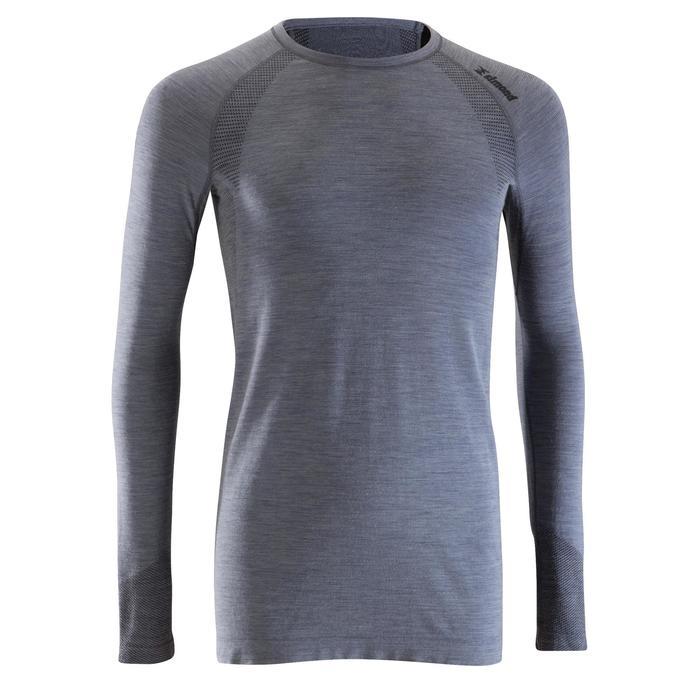 Shirt met lange mouwen Seamless wol 40% heren grijs