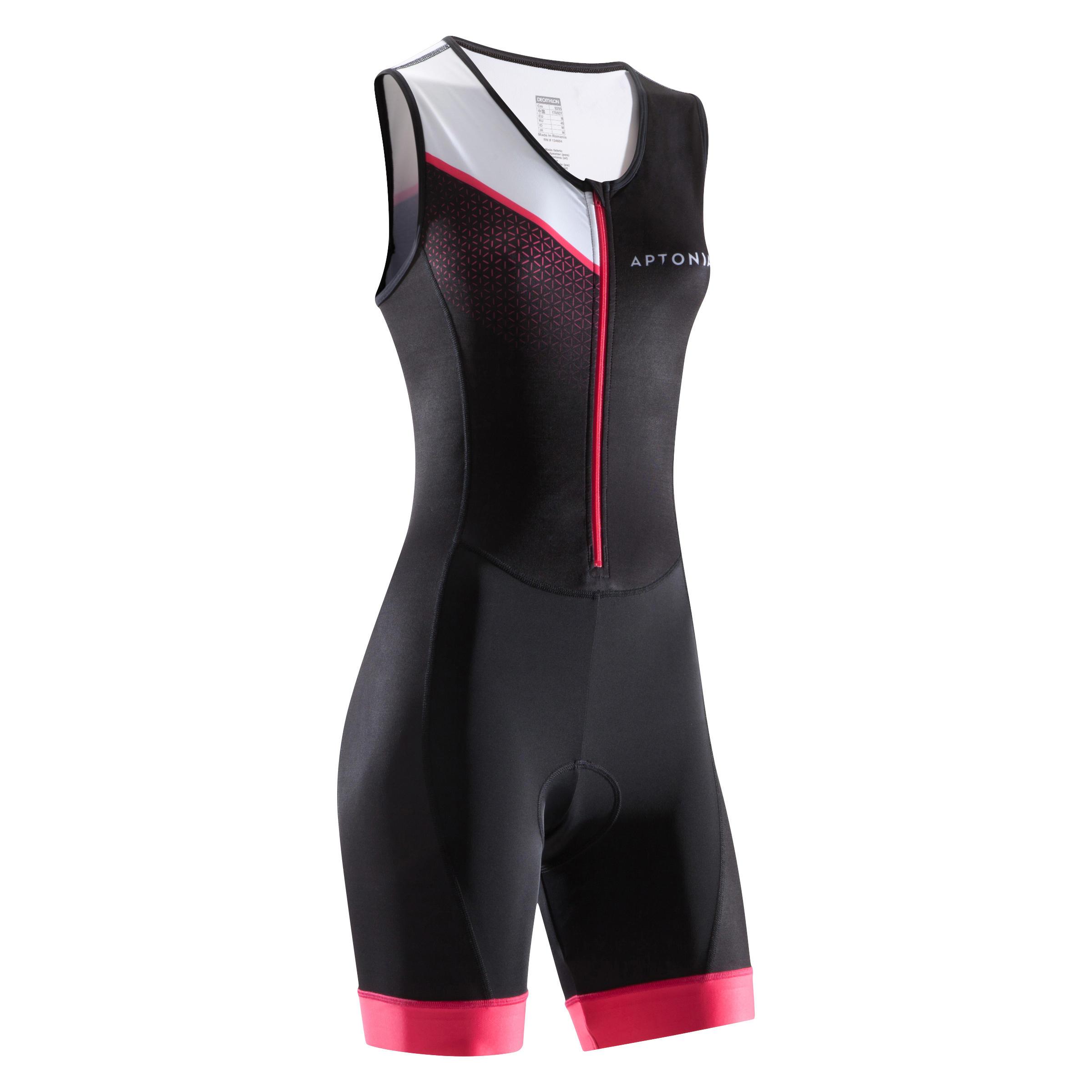 Aptonia Mouwloze trisuit met rits vooraan voor dames korte afstand triatlon zwart roze
