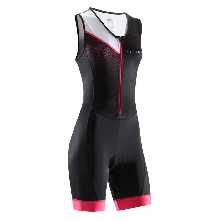 Mouwloze trisuit met voorrits Trifonction korte afstanden dames zwart/roze