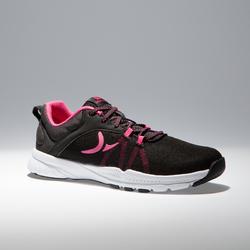 Chaussures cardio fitness training femme 100 noir et rose