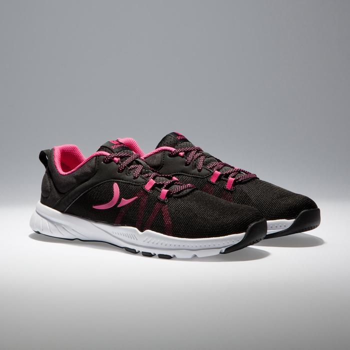Zapatillas fitness cardio-training 100 mujer negro y rosa